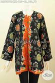 Blus Batik Jumbo, Baju Batik Wanita Gemuk Big Size, Pakaian Batik Trendy Tanpa Krah Proses Cap Tulis, Modis Buat Santai Dan Jalan-Jalan [BLS7597CT-XXL]