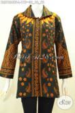 Baju Batik Kerja Atasan Wanita Karir, Pakaian Batik Istimewa Buatan Solo Motif Klasik Kombinasi Tulis Model Krah Harga 175K [BLS7624BT-L]