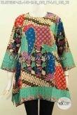 Baju Batik Modern Terkini, Blus Batik Wanita 2017 Model Kotak Motif Unik Proses Printing, Tampil Modis Dan Gaya [BLS7630P-M , L]