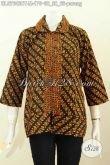 Blus Batik Solo Klasik Motif Parang, Pakaian Batik Trendy Sentuhan Elegan Kerah Bulat Kancing Depan Bahan Adem Nyaman Di Pakai [BLS7642CT-M]