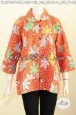 Blus Kerja Batik Printing Kerah Bulat, Pakaian Batik Wanita Terkini Bikin Penampilan Modis Dan Cantik [BLS7647P-L]