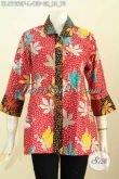 Produk Baju Batik Wanita Terkini, Blus Batik Kerah Bulat Motif Keren Proses Printing Desain Trendy Tampil Cantik Dan Bergaya [BLS7660P-L]