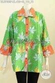 Batik Blus Warna Hijau, Pakaian Batik Keren Kerah Bulat, Baju Batik Kerja Wanita 2017 Penampilan Lebih Istimewa [BLS7663P-XL]