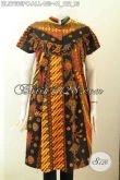 Baju Batik Wanita Lengan Pendek Kerah Shanghai 2020, Busana Batik Jawa Etnik Motif Klasik Proses Printing, Tampil Anggun Menawan [BLS7665PC-All Size]