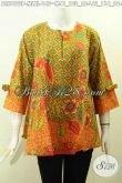 Pakaian Batik Jawa Terkini, Blus Batik Solo Halus Model Pita Di Lengkapi Resleting Depan Motif Keren Proses Printing Hanya 145K [BLS7692P-M]