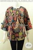 Baju Blus Keren Bahan Batik Solo, Pakaian Batik Modis Model Pita Resleting Depan Kwalitas Istimewa Harga Biasa [BLS7699P-L]