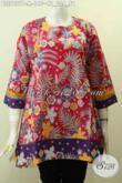 Pakaian Batik Motif Bagus, Baju Batik Wanita Blus Tanpa Krah Buatan Solo Asli, Cocok Buat Pesta Dan Jalan-Jalan [BLS7757P-M]