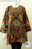 Sedia Pakaian Batik Modis, Baju Batik Solo Terbaru, Blus Tanpa Krah Motif Berkelas Proses Printing Untuk Penampilan Makin Istimewa [BLS7769P-XXL]