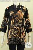 Blus Batik Elegan Dasar Hitam Motif Burung Merah Proses Tulis, Pakaian Batik Kwalitas Premium Model Kerah Shanghai Harga 200 Ribuan [BLS7774T-S]