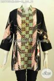 Blus Batik Seragam Kerja Wanita Kantoran, Busana Batik Kerah Shanghai Elegan Kwalitas Istimewa, Proses Tulis Motif Kombinasi Harga 220K [BLS7795T-XL]