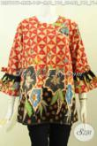 Aneka Busana Batik Trendy Untuk Wanita Yang Ingin Bergaya, Blus Tanpa Krah Lengan Pakai Pita Motif Keren Proses Printing Hanya 145K [BLS7817P-L]