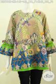 Koleksi Terbaru Blus Batik Jawa Tengah, Pakaian Batik Khas Solo Trendy Tanpa Krah Dengan Lengan Berpita, Tampil Gaya Dan Cantik [BLS7818P-L]