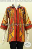 Batik Blus Klasik Istimewa Yang Bikin Wanita Karir Tampil Mempesona, Bahan Halus Motif Sinaran Model Resleting Depan Hanya 150K [BLS7823P-M]