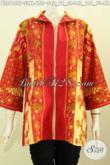 Busana Batik Wanita Muda Dan Dewasa Yang Bikin Penampilan Beda Dan Berkelas, Blus Batik Resleting Depan Motif Klasik Proses Printing Hanya 150 Ribu [BLS7829P-L]