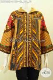 Pakaian Batik Kerja Modis Berkelas, Blus Klasik Batik Solo Printing Motif Sinaran Dengan Resleting Depan Trend Mode 2017, Tampil Makin Gaya [BLS7832P-L]