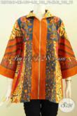 Koleksi Terbaru Blus Batik Klasik Resleting Depan Kwalitas Istimewa Proses Printing Motif Sinaran, Elegan Untuk Kerja Dan Acara Formal [BLS7834P-XL]