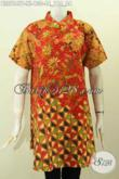 Pakaian Batik Model Terbaru Wanita Dewasa, Blsu Kerah Shanghai Lengan Pendek Motif Mewah Bahan Adem Proses Printing 100 Ribuan Saja [BLS7847P-XL]