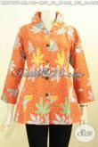 Baju Blus Batik Warna Oranye, Baju Batik Trendy Pakai Ofneisel Di Krah Dan Lengan Berbahan Halus Motif Daun Pepaya Harga 140K [BLS7907P-M]