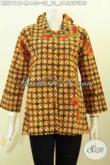 Juragan Baju Batik Online, Sedia Blus Batik Klasik Motif Kawung Model Ofneisel Krah Dan Lengan Bikin Penampilan Makin Anggun [BLS7911P-M]