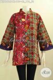 Model Baju Batik Terkini, Busana Blus Krah Shanghai Bahan Halus Motif Elegan Cap Tulis Dengan Krah Shanghai, Pas Untuk Acara Istimewa Tampil Mempesona [BLS8072CT-XL]