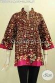 Model Baju Batik Wanita Muda, Pakaian Batik Elegan Motif Bagus Trend Masa Kini Proses Cap Tulis, Busana Batik Krah Shanghai Bikin Penampilan Mempesona [BLS8078CT-M]