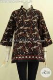 Model Baju Batik Kwalitas Bagus Harga Terjangkau, Pakaian Batik Krah Shanghai Untuk Seragam Kerja Kantoran, Wanita Muda Terlihat Mempesona [BLS8086CT-M]