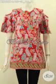Model Baju Batik Blus Modis Terkini, Hadir Dengan Warna Merah Motif Terbaru Bahan Adem Desain Kancing Belakang Dan Lengan Lobang, Penampilan Makin Bergaya [BLS8207P-L]
