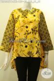 Model Baju Batik Modis Buatan Solo Spesial Untuk Wanita Gemuk, Hadir Dengan Depan Lebih Pendek Dari Belakang Di Padu Lengan Desain Tumpuk, Penampilan Terlihat Modis [BLS8327PB-XXL]