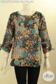 Baju Batik Motif Bunga, Blus Batik Trendy Cocok Untuk Kerja Dan Santai, Hadir Dengan Model Kancing Belakang Serta Bertali Di Bagian Lengan Hanya 135 Ribu [BLS8497P-L]