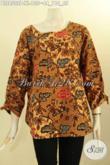 Baju Batik Kerja Wanita Dewasa Motif Elegan Dan Berkelas, Blus Batik Printing Model Kancing Belakang Dengan Bertali Di Bagian Lengan, Penampilan Terlihat Istimewa Hanya 135K [BLS8502P-XL]