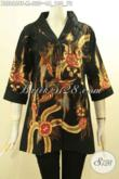 Batik Blouse Solo Motif Kekinian, Busana Batik Tulis Modern Desain Kerah Langsung Untuk Wanita Tampil Cantik Dan Bergaya [BLS8668T-M]