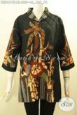 Baju Batik Halus Motif Pohon Kelapa, Busana Batik Blouse Wanita Dewasa Model Kerah Langsung Proses Tulis, Penampilan Modis Dan Keren [BLS8674T-XL]