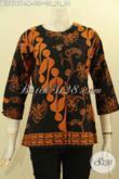 Batik Blouse Lengan 7/8 Tanpa Kerah, Busana Batik Kerja Desain Kancing Depan Motif Bagus Dan Elegan Proses Printing, Tampil Cantik Menawan [BLS8747P-M]