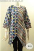 Koleksi Terbaru Baju Batik Wanita Motif Unik Dengan Kombinasi Warna Modern, Busama Batik Blouse Keren Lengan Panjang Pakai Kancing Depan Bahan Adem Yang Nyaman Di Pakai Hanya 100 Ribuan [BLS9022C-L]