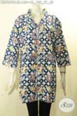 Pusat Baju Batik Wanita Terlengkap, Jual Online Blouse Modis Lengan 3/4 Kancing Depan Motif Bagus Tren Masa Kini Proses Cap, Cocok Untuk Acara Santai Maupun Resmi [BLS9070C-XL]