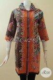 Dress Batik Modern Warna Kombinasi Oranye Hitam, Elegan Dan Exclusive [DR2860P-M]