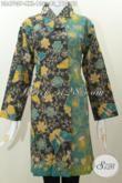 Dress Batik Kwalitas Bagus Desain Mewah Kerah Miring Dengan Warna Kombinasi, Baju Batik Printing Solo istimewa Ukuran Jumbo Untuk Wanita Karir Berbadan Gemuk [DR4705P-XXL]