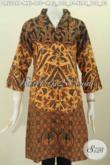 Batik Dress Elegan Model Kerah Langsung Berbahan Adem Proses Printing Trend Mode Masa Kini, Baju Batik Solo Wanita Muda Dan Dewasa Hanya 100 Ribuan [DR5206-M]