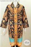 Baju Dress Batik Elegan Kerah Langsung, Pakaian Batik Berkelas Motif Mewah Proses Printing Ukuran Jumbo Spesial Buat Wanita Gemuk Karir Aktif [DR5333P-XXL]
