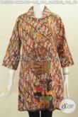 Jual Online Online Baju Dress Klasik Dengan Sentuhan Modern, Baju Batik Solo Nan Istimewa Berbahan Halus Model Kerah Bulat Proses Printing Cocok Untuk Acara Formal Hanya 100 Ribuan [DR5375P-XXL]