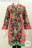 Busana Batik Istimewa Dengan Motif Mewah Berpadu Kombinasi Warna Berkelas Untuk Tampil Trendy, Dress Batik Kancing Besar Proses Printing Harga Terjangkau [DR5420P-M]