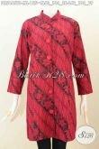 Jual Baju Batik Monokrom Warna Merah Hitam, Dress Batik Halus Model Kerah Shanghai Desain Istimewa Proses Kombinasi Tulis Tampil Modis Dan Berkelas [DR5445BT-L]