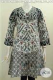 Baju Batik Elegan Nan Mewah, Dress Batik Model V Motif Kombinasi Proses Printing Untuk Penampilan Nan Sempurna [DR5679P-L]