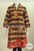 Baju Batik Terusan, Busana Dress Wanita Muda Dan Dewasa Bahan Adem Motif Mewah Proses Printing Harga 100 Ribuan Model Kerah Langsung [DR5705P-L]