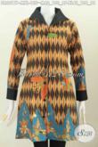 Baju Dress Batik Solo Halus Desain Mewah, Berbahan Kombinasi Emboss Motif Bagus Proses Printing Hanya 100 Ribuan [DR6017P-M]