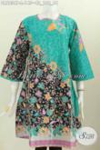 Batik Dress Solo Keren Trendy Berkelas, Pakaian Batik Wanita Terbaru Model Klok Bahan Adem Pakai Reslesting Belakang [DR6034P-L]