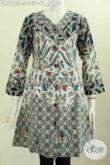 Baju Batik Dress Masa Kini, Busana Batik Modern Untuk Wanita Tampil Istimewa, Baju Batik Tiga Motif Proses Printing Harga 155 Ribu [DR6060P-S]
