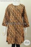 Sedia Baju Batik Solo Klasik Model Dress Untuk Wanita Muda, Berbahan Halus Proses Kombinasi Tulis Model Tanpa Krah Daleman Pake Furing [DR6125BTF-M]