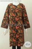 Batik Dress Halus Tanpa Krah, Pakaian Batik Jawa Tengah Dual Motif Proses Cap Tulis Ukuran 3L Spesial Baut Wanita Gemuk [DR6134CTF-XXL]