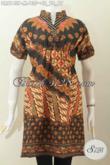 Baju Batik Modern Untuk Tampil Gaya Dan Modis, Dress Batik Wanita Size Kerah Shanghai Lengan Pendek 135K [DR6143P-M]